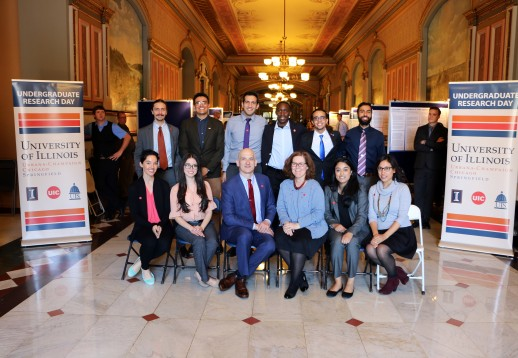 UIC's group at the Illinois Undergraduate Research Day event at the State of Illinois Capitol Building.