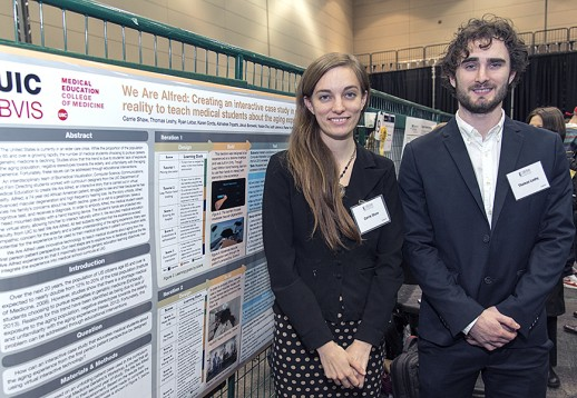 Carrie Shaw and Thomas Leahy present their award-winning project at the Student Research Forum.