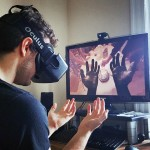 man using virtual reality headset to experience life as Alfred