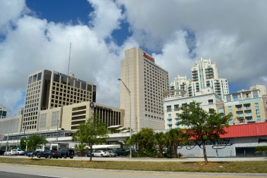 Tall buildings located near the Metrorail Dadeland South Station in Kendall, Florida