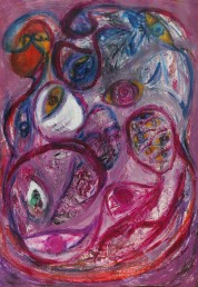abstract painting with imagery of eyes