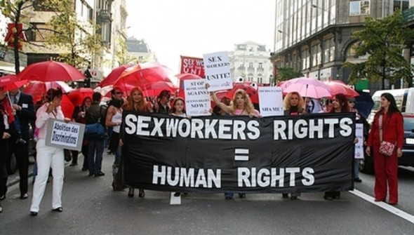 Members of Sex Workers Outreach Project, SWOP, protest recently.