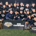 Men's Soccer team posing for Horizon League championship photo