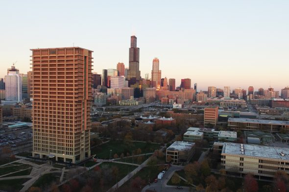 University Hall and other east side buildings with Chicago skyline