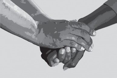 illustration of a pair of hands holding another's hand