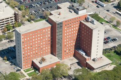 aerial view of School of Public Health and Psychiatric Institute
