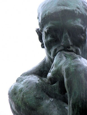 """view of """"The Thinker"""" statue"""
