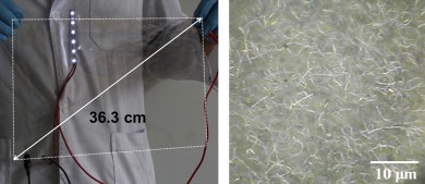 Left, photograph of a large-scale silver nanowire-coated flexible film. Right, silver nanowire particles viewed under the microscope