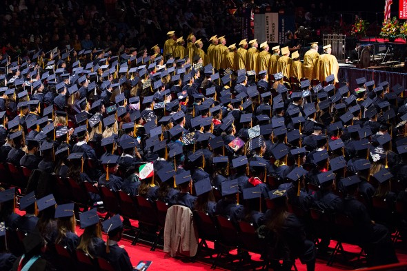 Aerial view of crowd of graduates