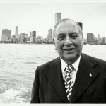 Chicago Mayor Richard J. Daley in front of the Chicago skyline. After Daley died on Dec. 20, 1976 his family donated his papers to the University of Illinois at Chicago.