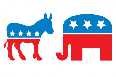 Republican Elephant and Democratic Donkey symbols