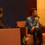 Issa Rae speaking to students on campus
