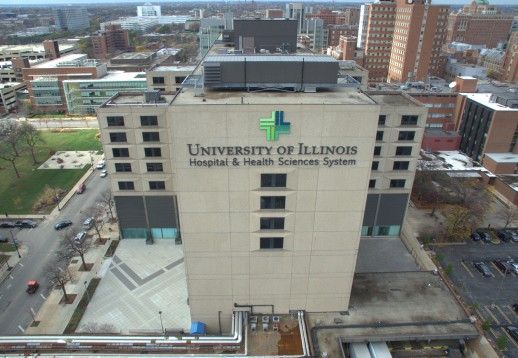 aerial view of University of Illinois Hospital and west side of campus