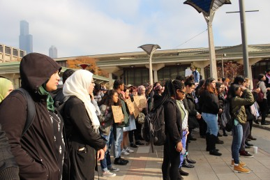 UIC students at a recent protest on campus.