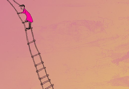 drawing of person climbing a ladder