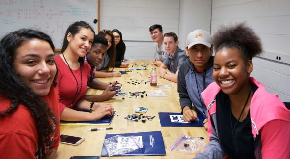 students participating in an engineering camp