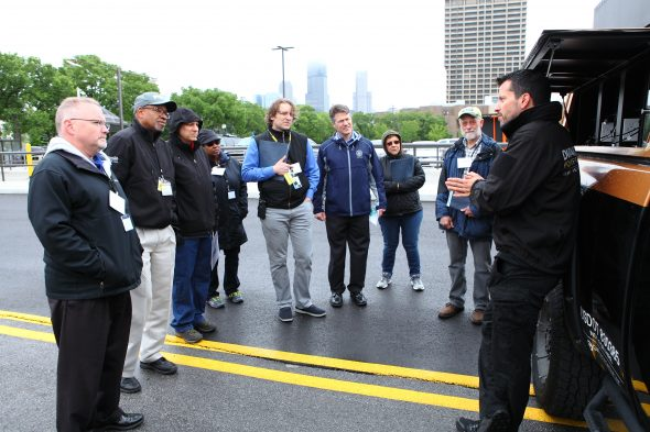 Participants discuss strategies during a disaster