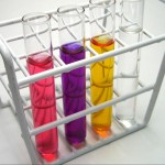 test tubes with different colored liquids in them