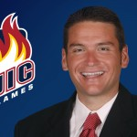 UIC Flames logo and Garrett Klassy portrait
