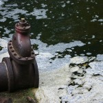 drain pipe in polluted water