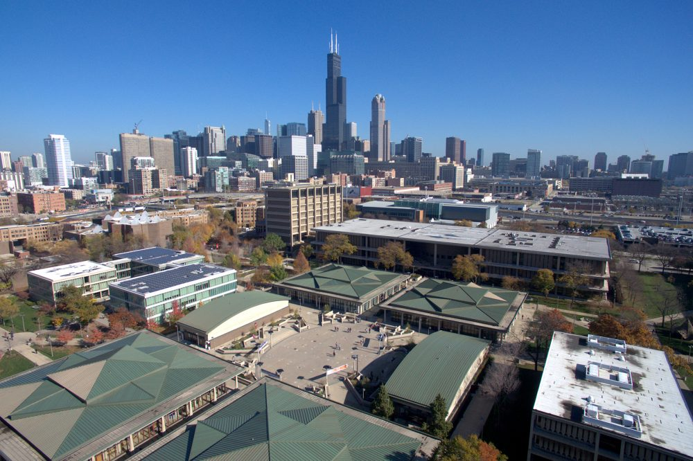 Aerial view of east side with skyline in background.
