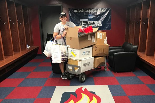 Athletes collect items for hurricane relief