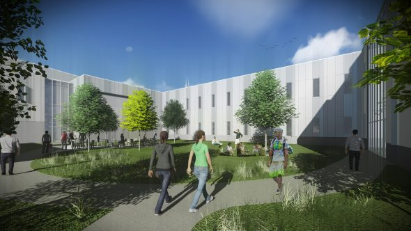 rendering of Engineering Innovation Building Courtyard