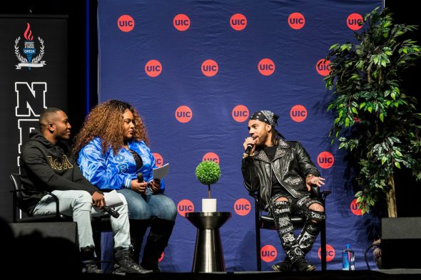Vic Mensa speaking with hosts