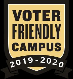 Voter Friendly Badge, gold and black graphic