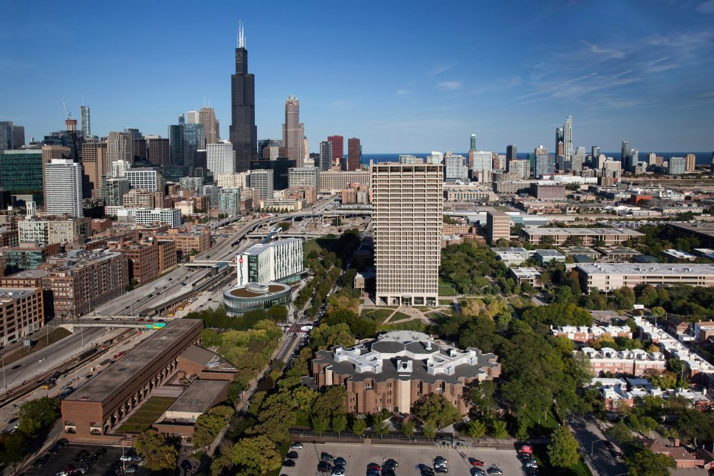 Chicago skyline with east campus in foreground