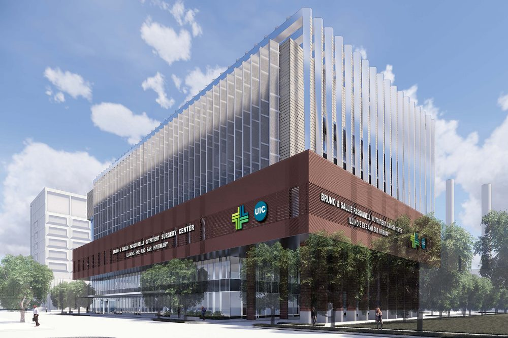 UI Health Proposed rendering of Pasquinelli Outpatient Building. Long shot.