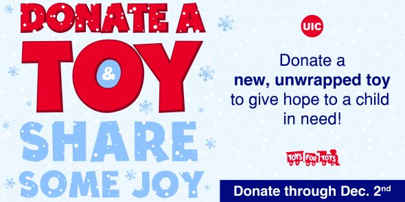 Donate a Toy Share some Joy. Toys for Tots logo.