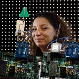 Portrait of ECE Associate professor Besma Smida poses for a photo with a Single-antenna in-band full-duplex systems at UIC Engineering