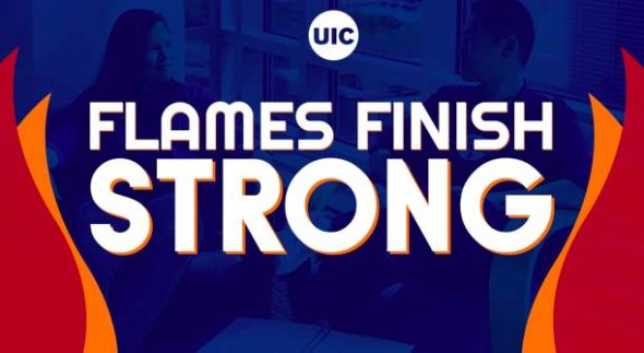 Flames Finish strong logo