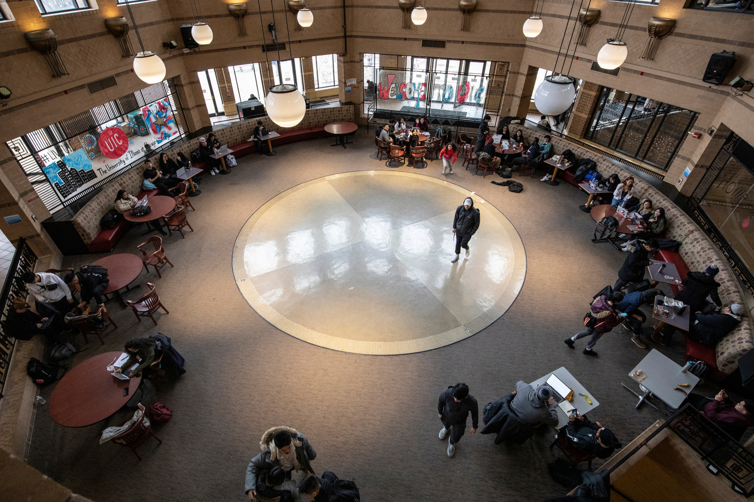 The atrium of SRCN comes to life as students catch up with each other upon returning to campus for the semester.