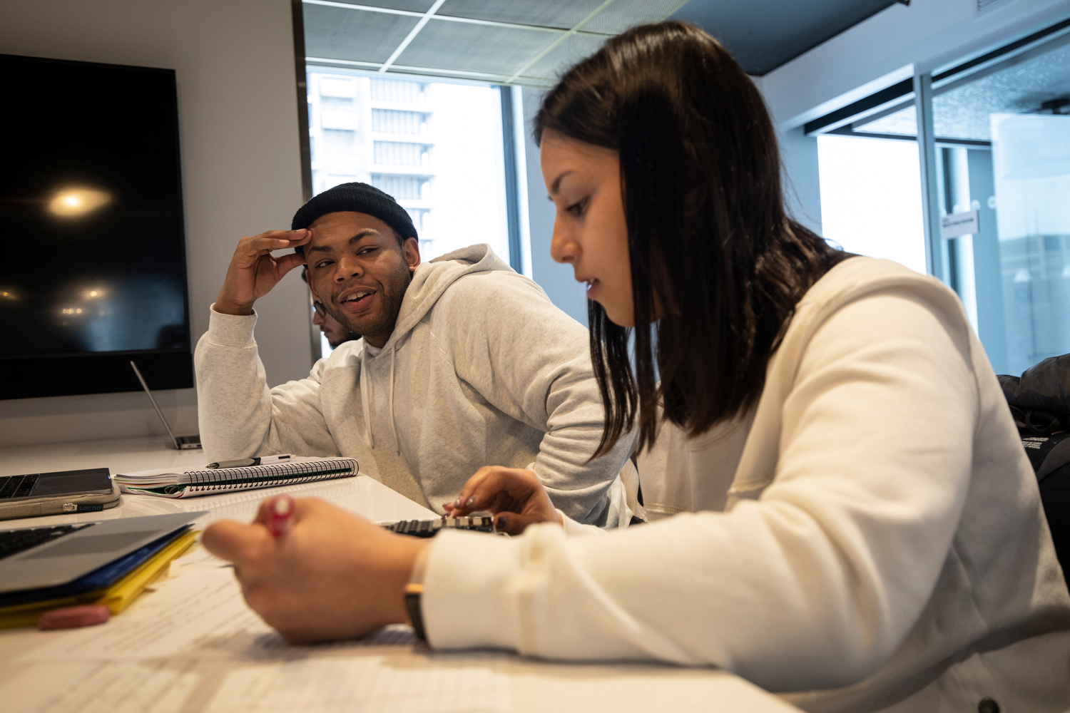 Ricky Foster (LAS '20), left, and Rolla Kattoum (LAS '22) waste no time getting to work on an assignment for their physical chemistry class in the Academic and Residential Complex.