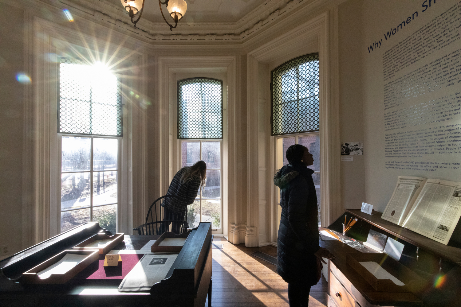 Nursing students meander through Jane Addams Hull House after a tour for their class on community and public health. Nursing professors Gerry Gorman and Rebecca Singer believe Jane Addams' work at Hull House is foundational to the social justice issues we face today.