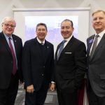 UIC Chancellor Michael Amiridis, Juan José Cabrera-Lazarini of Monterrey Institute of Technology, University Trustee Ramón Cepeda and Vice Provost for Global Engagement Neal McCrillis attend a a welcome meeting announcing announce UIC's partnership with Monterrey Tec.