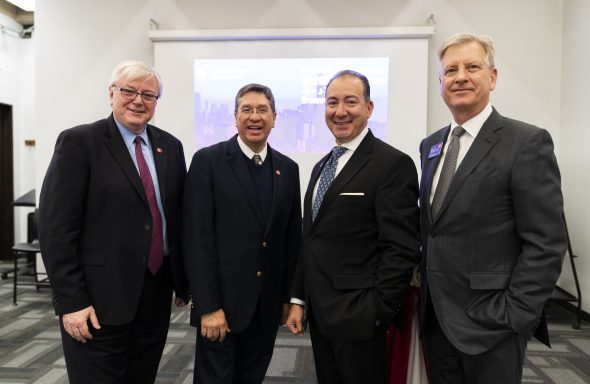 UIC Chancellor Michael Amiridis, Juan José Cabrera-Lazarini of Monterrey Institute of Technology, University Trustee Ramón Cepeda and Vice Provost for Global Engagement Neal McCrillis attend a welcome meeting announcing UIC's partnership with Monterrey Tec.