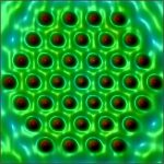 Cobalt atoms (red) are placed on a copper surface (green) one at a time to form a Kondo droplet, leading to a collective pattern that is the fundamental building block of superconductivity.