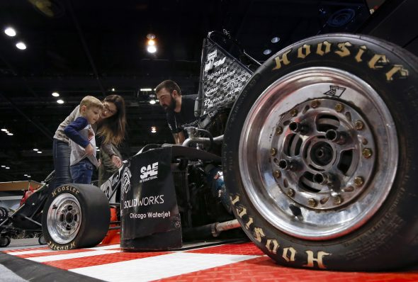 UIC Motorsports organization at their booth exhibit at the Chicago Auto Show tdow}, Feb. 13, 2020, in Chicago.   UIC Engineering/Jim Young