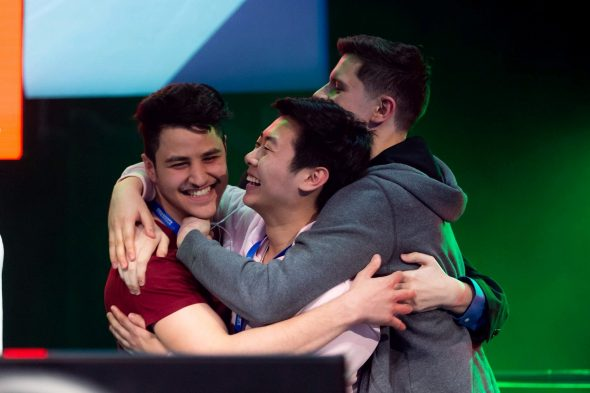 DOTA 2 team members celebrate their win at the 2019 Collegiate StarLeague competition.