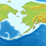Map of en:Bering Sea. National borders between Alaska