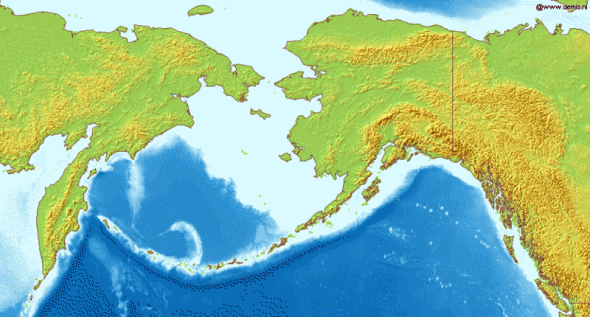 Map of Bering Sea. National borders between Alaska