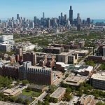 Aerial view of campus and skyline