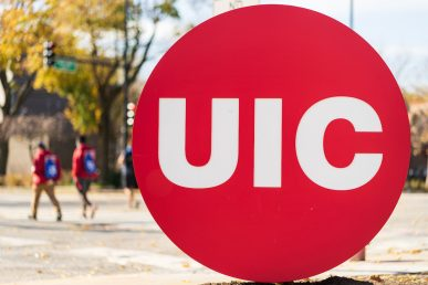 UIC campus and red circle logo