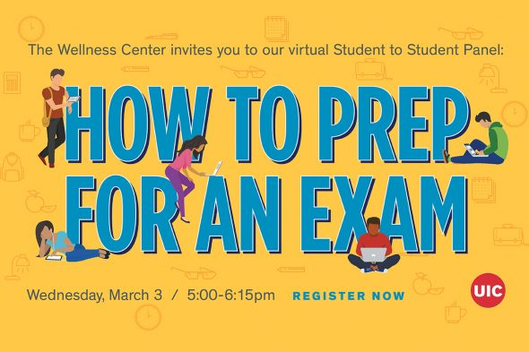 "Text says ""The Wellness Center invites you to our virtual Student to Student Panel: How to Prep for an Exam, March 3, 5-6:15 p.m."""