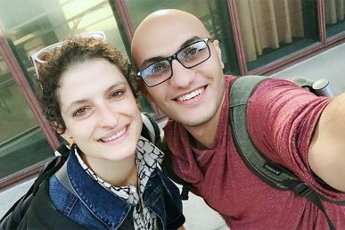 Katherine Sauers with student Mohammed Abuzayda.