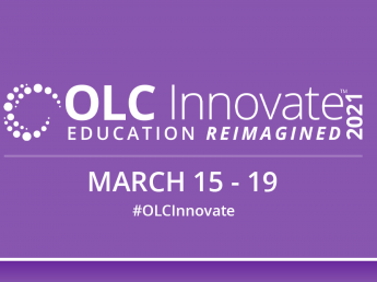 """White text on a purple background says """"OLC Innovate 2021 Education Reimagined March 15-19"""""""