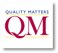 "Quality Matters logo shows ""QM"" in red text."